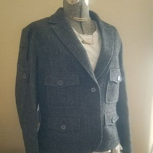 ☆Yves St. Laurent☆Cropped Textured Wool Jacket 44R